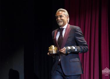 Photo de Mehdi Hamdi lors de la remise du carrosse d or a Martin Scorcese.